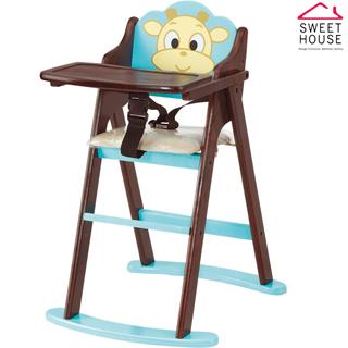【甜美家】可愛小牛折合寶寶餐椅(全實木製作)