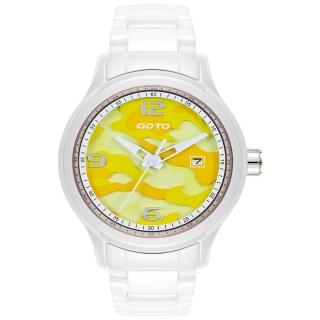 【GOTO】NO.7迷彩系列時尚腕錶-白x黃(GC0289M-22-2Y1)