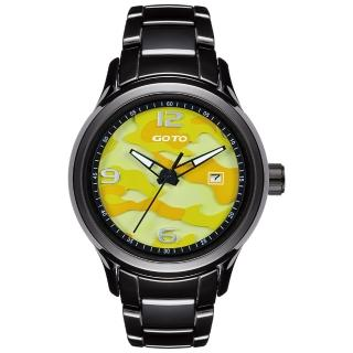 【GOTO】NO.7迷彩系列時尚腕錶-黑x黃(GC0289M-33-3Y1)