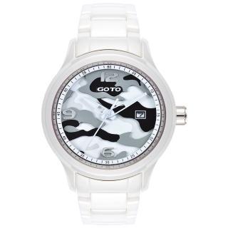 【GOTO】NO.7迷彩系列時尚腕錶-白x灰(GC0289M-22-231)