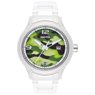 【GOTO】NO.7迷彩系列時尚腕錶-白x綠(GC0289M-22-291)