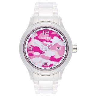 【GOTO】NO.7迷彩系列時尚腕錶-白x桃(GC0289M-22-2F1)