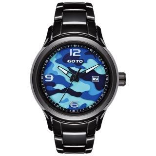 【GOTO】NO.7迷彩系列時尚腕錶-黑x藍(GC0289M-33-3B1)