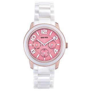 【GOTO】Candy Magic 陶瓷時尚腕錶-IP玫x粉(GC9106M-82-821)