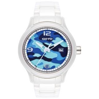 【GOTO】NO.7迷彩系列時尚腕錶-白x藍(GC0289M-22-2B1)
