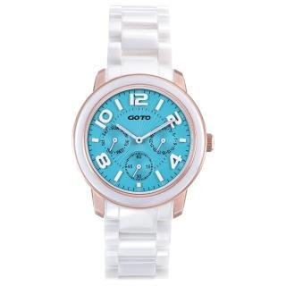 【GOTO】Candy Magic 陶瓷時尚腕錶-IP玫x藍(GC9106M-82-B21)