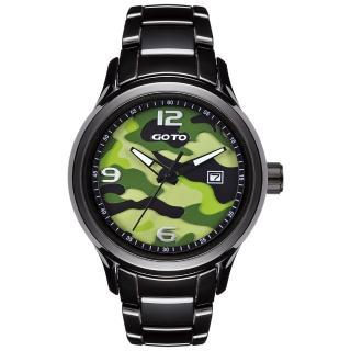 【GOTO】NO.7迷彩系列時尚腕錶-黑x綠(GC0289M-33-391)