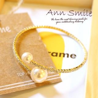 【微笑安安】韓製大小珍珠夾鑲晶鑽手環