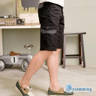 【Dreamming】剪接條紋口袋伸縮工作短褲(深灰)