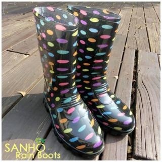 【Sanho】亮麗圓點長雨靴(彩色點)