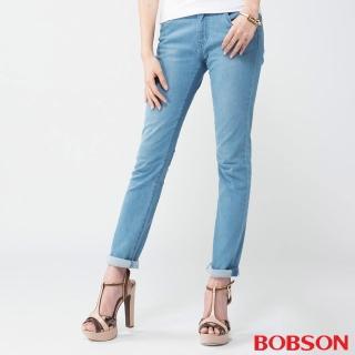 【BOBSON】女款膠原蛋白小直筒褲(淺藍8080-58)