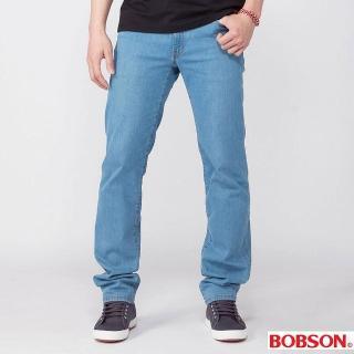 【BOBSON】男款低腰膠原蛋白彈性直筒褲(淺藍1790-58)