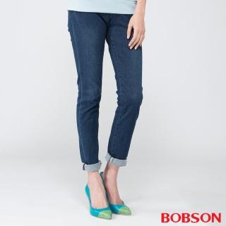 【BOBSON】女款膠原蛋白小直筒褲(藍8080-53)