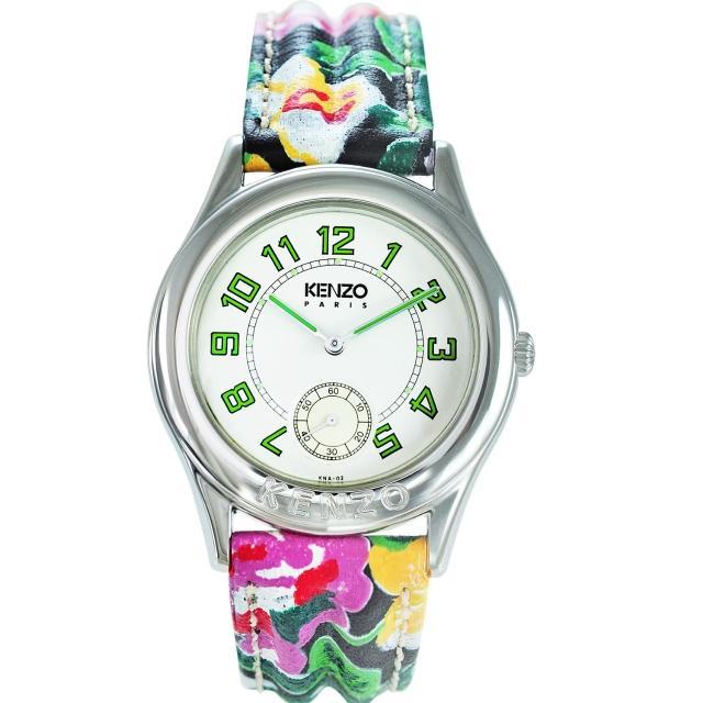 【KENZO】艷麗四射之花樣年華腕錶-樹葉綠刻度(KN2101FB1)