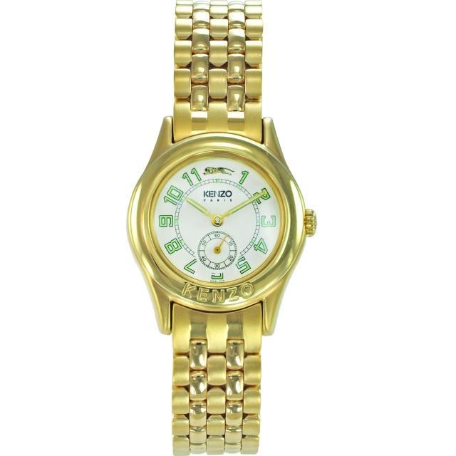 【KENZO】尊爵品味時尚腕錶-金x米白色(KN7803B01)