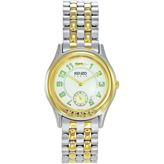 【KENZO】尊爵品味時尚腕錶-中金x米白色(KN2501B01)