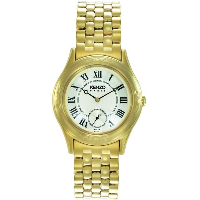 【KENZO】真愛典藏時尚腕錶-金x米白色(KN2802B02)