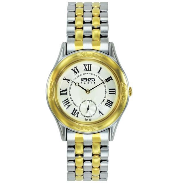 【KENZO】真愛典藏時尚腕錶-中金x米白色(KN2502B02)