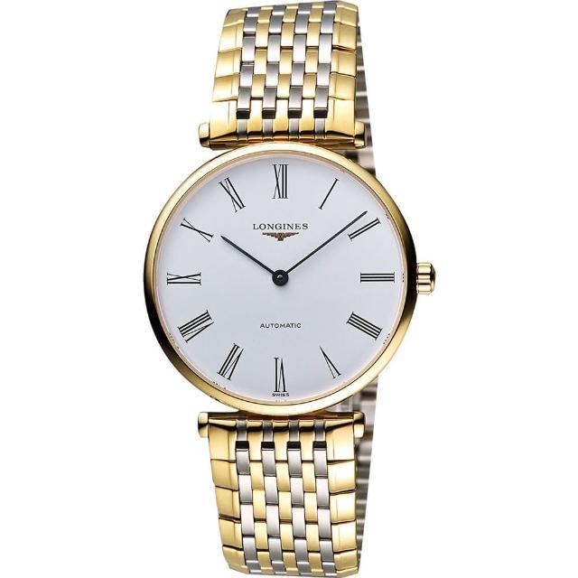 【LONGINES】嘉嵐系列經典機械腕錶-白x雙色版/34mm(L47082117)