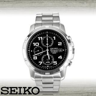【SEIKO 精工】超輕鈦合金三眼賽車腕錶(SNA113P1)