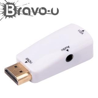 【Bravo-u】HDMI 公 to VGA 母 白色鍍金轉接頭