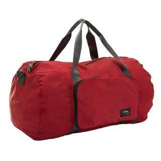 【YESON】商旅輕遊可摺疊式大容量手提斜背旅行袋(紅)