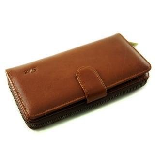 【Sika】義大利時尚真皮拉鍊壓扣長夾A8251-01(原味褐)