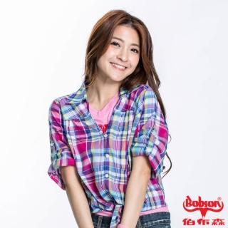 【BOBSON】女款綁結格子短袖襯衫(紫紅23133-15)