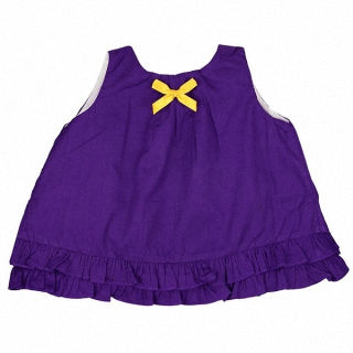 【Ruffle Butts】小女童甜美裙擺衣-葡萄紫色黃蝴蝶結 #STWGR-YE
