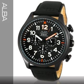 【SEIKO 精工 ALBA】賽出款三眼造型黑鋼男錶(AT3485X1)