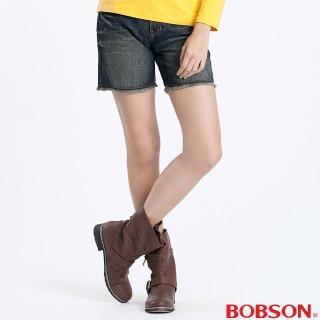 【BOBSON】女款反折不收邊短褲(藍166-53)
