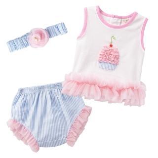 【baby童衣】套裝 無袖立體蛋糕圖附髮帶 32027