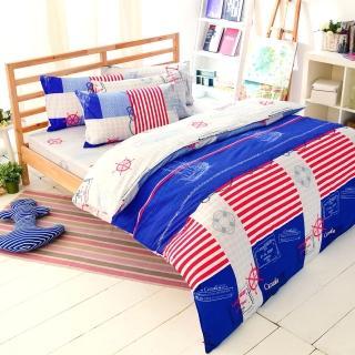 【FOCA-海盜巡航】加大精梳純棉兩用被床包組(贈同尺寸保潔墊)