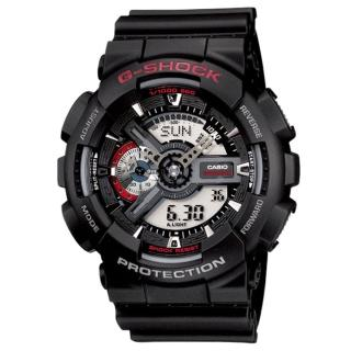 【CASIO】卡西歐G-SHOCK 雙顯重機電子錶-黑(GA-110-1A)