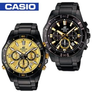 【CASIO 卡西歐 EDIFICE 系列】日系時尚魅力黑鋼計時男錶(EFR-534BK)
