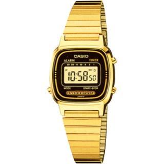 【CASIO 卡西歐】復古優雅質感時尚電子錶(金x黑/24.6mm)