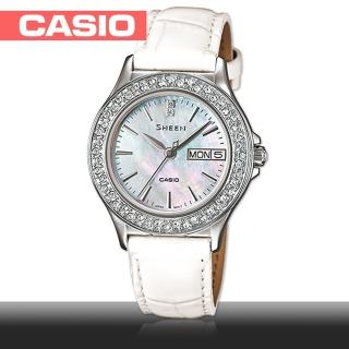 【CASIO 卡西歐 SHEEN 系列】施華洛世奇氣質典雅皮錶帶女錶(SHE-4800L)