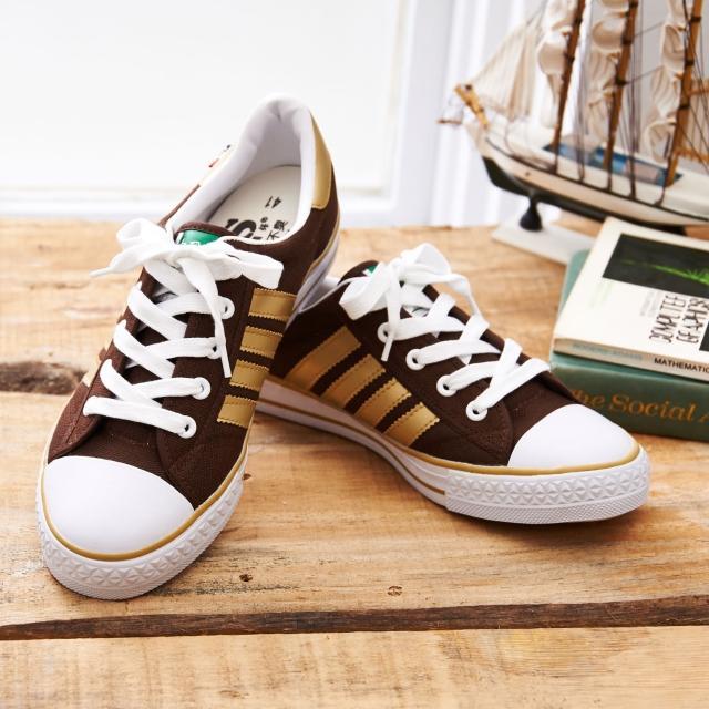 【中國強】MIT 百搭休閒帆布鞋CH83(咖啡金)