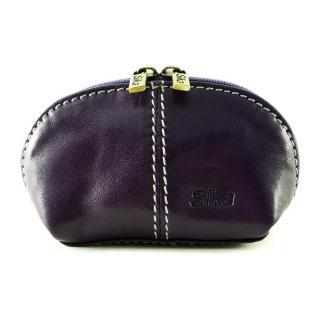 【Sika】義大利時尚真皮復古小巧拉鍊零錢包A8259-07(木槿紫)
