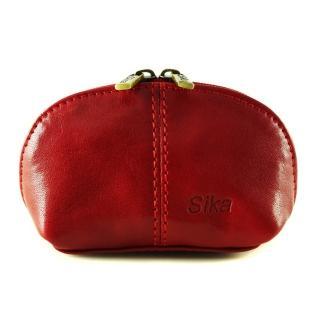 【Sika】義大利時尚真皮復古小巧拉鍊零錢包A8259-04(魅惑紅)