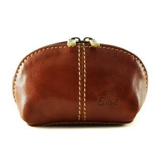 【Sika】義大利時尚真皮復古小巧拉鍊零錢包A8259-01(原味褐)