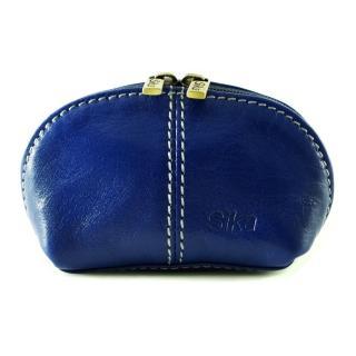 【Sika】義大利時尚真皮復古小巧拉鍊零錢包A8259-05(亮寶藍)