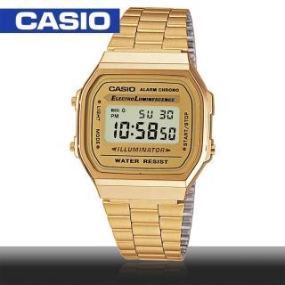 【CASIO 卡西歐】日系-復古風數字金色款(A168WG)