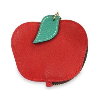 【真皮屋 CONTINUITA】輕巧蘋果水果造型零錢包(蘋果紅)