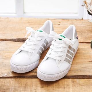 【中國強】MIT 百搭休閒帆布鞋CH83(白銀)