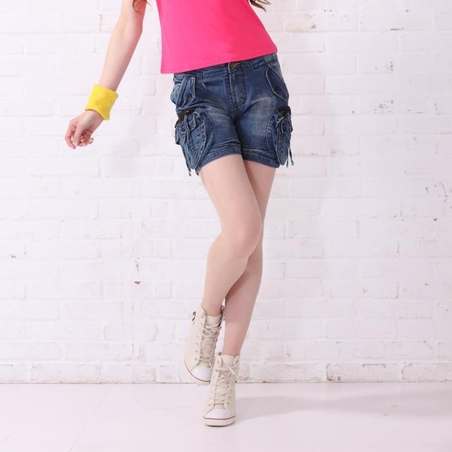 【RH】日系個性休閒街頭口袋五分丹寧褲(牛仔藍S-XL)