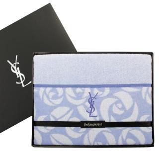 【YSL】凡爾賽玫瑰純棉毛巾被蓋毯禮盒(粉藍)