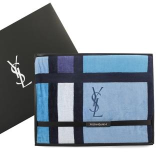【YSL】經典拼版色塊純棉毛巾被蓋毯禮盒(靛藍色)