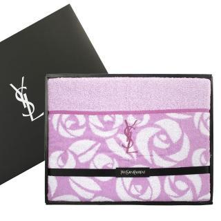 【YSL】凡爾賽玫瑰純棉毛巾被蓋毯禮盒(粉紫)