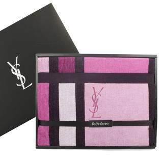 【YSL】經典拼版色塊純棉毛巾被蓋毯禮盒(紫紅色)